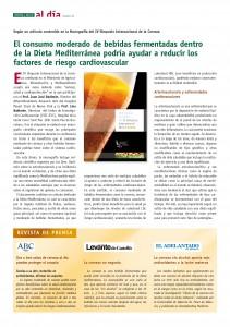 El consumo moderado de bebidas fermentadas dentro de la Dieta Mediterránea podría ayudar a reducir los factores de riesgo cardiovascular