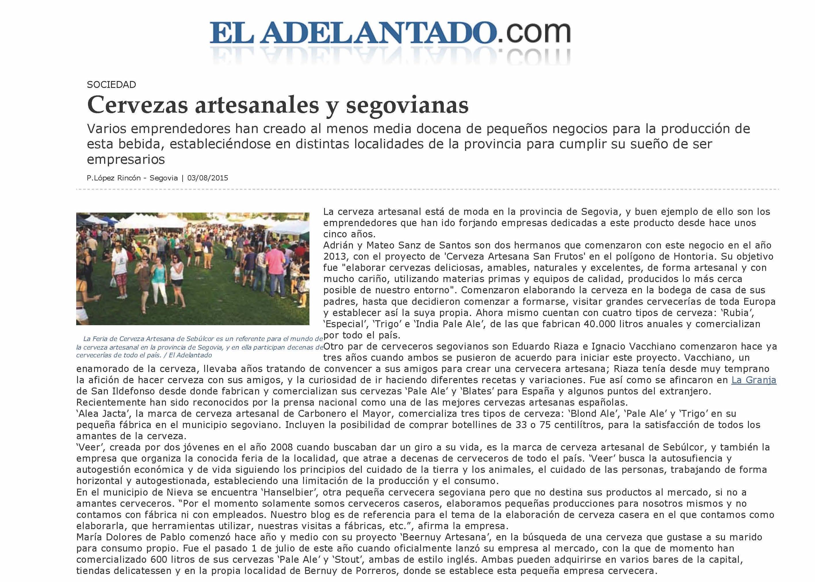 150803 ElAdelantado - Cervezas artesanales y segovianas