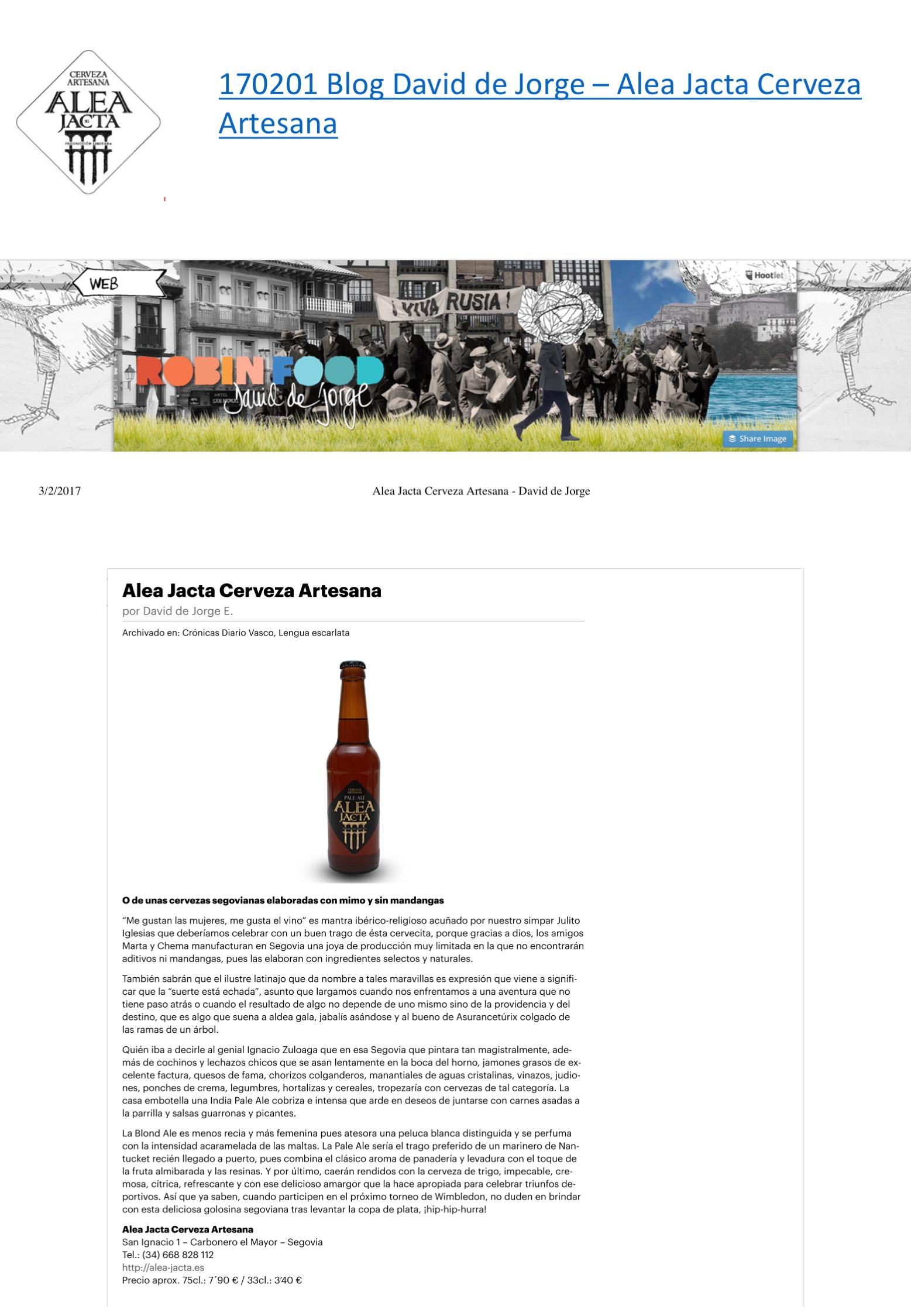 Alea Jacta Cerveza Artesana - David de Jorge